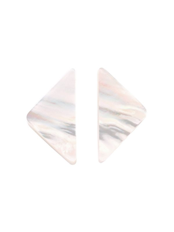 Triangle Carved Mother of Pearl Earrings – Small