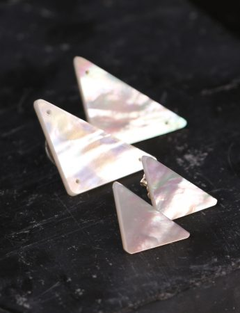 Triangle Carved Mother Of Pearl Earrings - Large