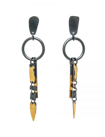 Pointed Ramshackled Earrings - Black & Gold