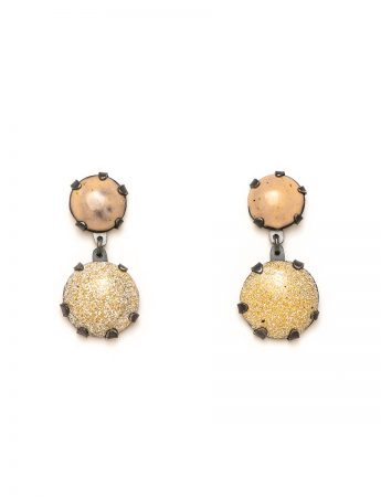 Pom Pom Park Earrings - Beige & Yellow