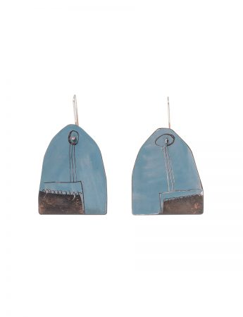 Reversible Apron Earrings - Blue Grey & Salmon