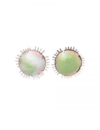Round Galaxy Earrings - Green & White