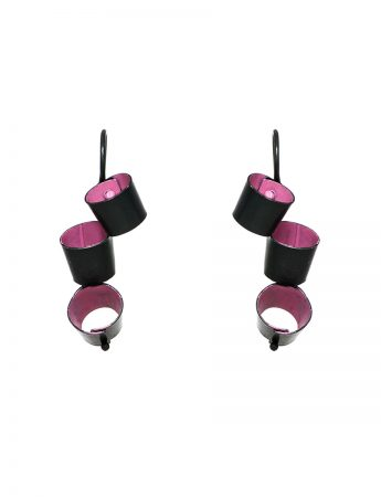 Short Foxglove Earrings - Black & Pink