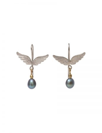 Spread Your Wings Earrings - Black Pearl