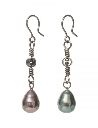Swivel Drop Tahitian Pearl Earrings - Black