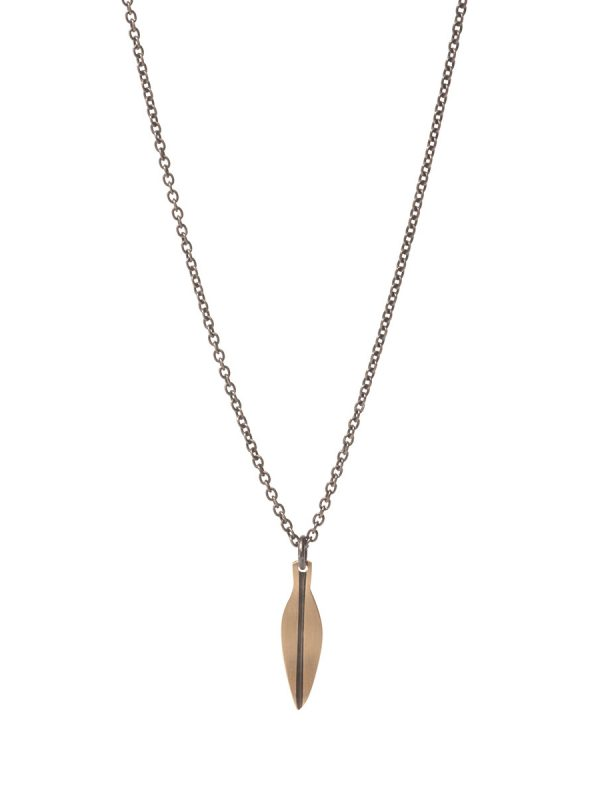 Tiny Eucalyptus Leaf Necklace – Black & Gold