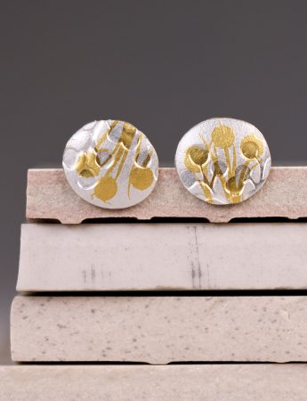 Wattle Stud Earrings - Silver & Gold
