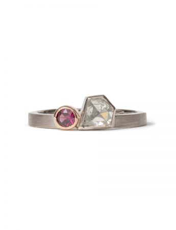 Dichotomy Ring - Diamond & Garnet