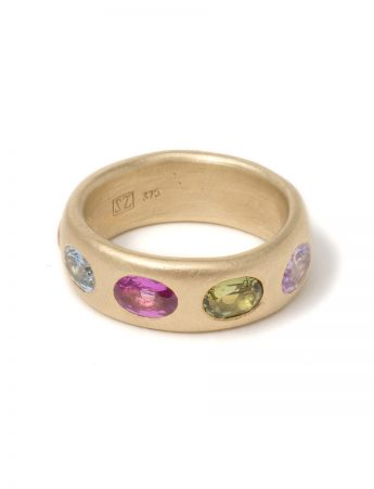 Extra Large Multicolour Eternal Love Ring - Gold
