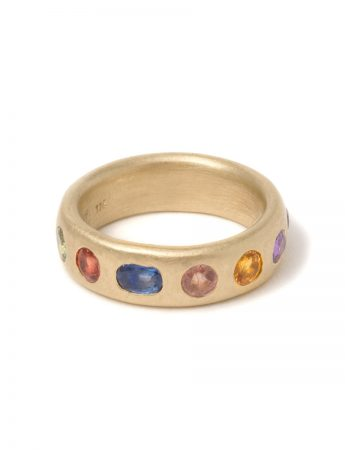 Large Multicolour Eternal Love Ring - Blue Sapphire
