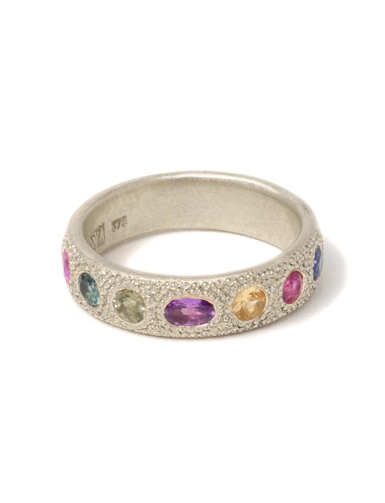 Large Multicolour Eternal Love Ring – White Gold