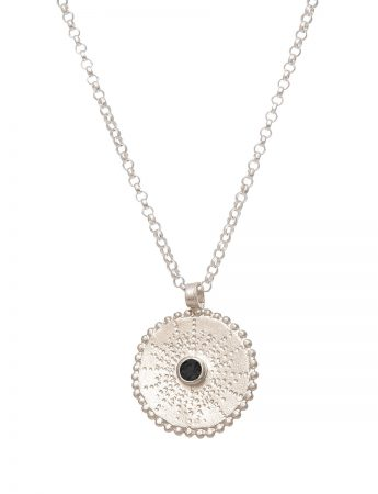 Silver Star Necklace - Black Spinel