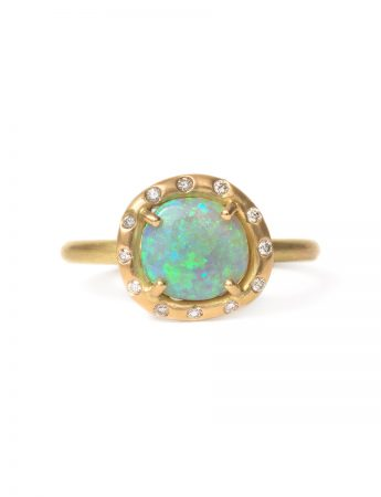 Corona Ring - Semi-Black Opal & Diamonds