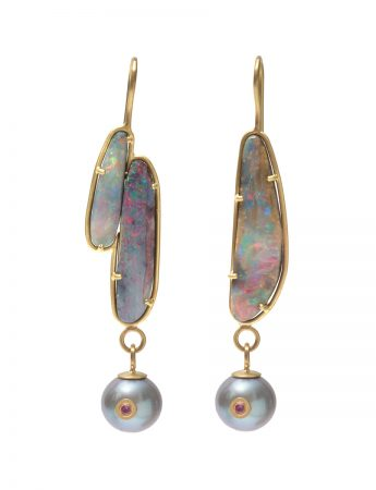 Nebula Earrings - Boulder Opal, Pearls & Sapphires
