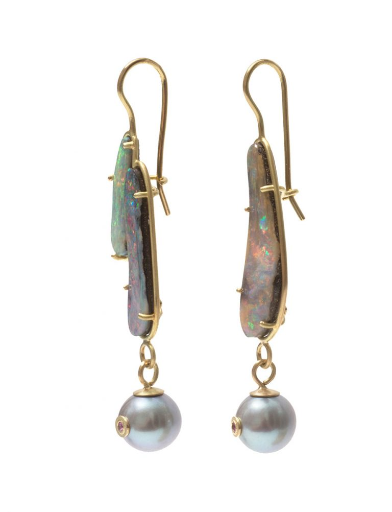 Nebula Earrings – Boulder Opal, Pearls & Sapphires