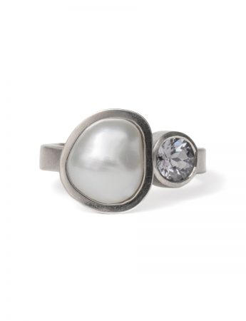 Peach Plum Pear Ring - Spinel & Keshi Pearl