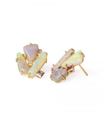 Supernova Earrings - Australian Opals & Sapphires