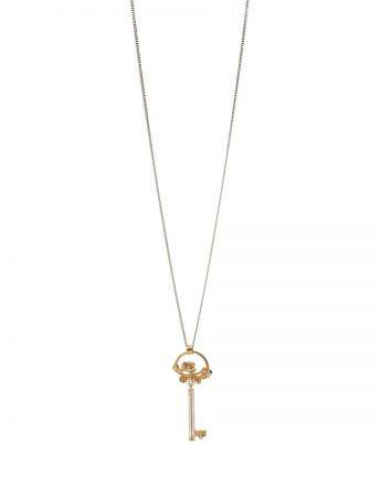 Winter Garland Key Pendant Necklace - Diamonds
