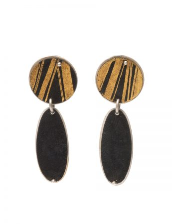 Disc Pendant Earrings - Black & Gold