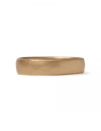 Hammered File Mark Ring - Yellow Gold
