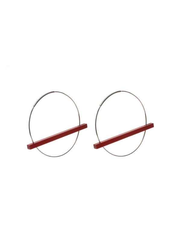 Line Earrings – Red