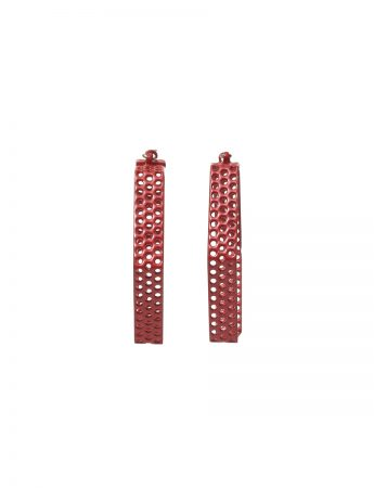 Mildsteel Hexagon Hoop Earrings - Red