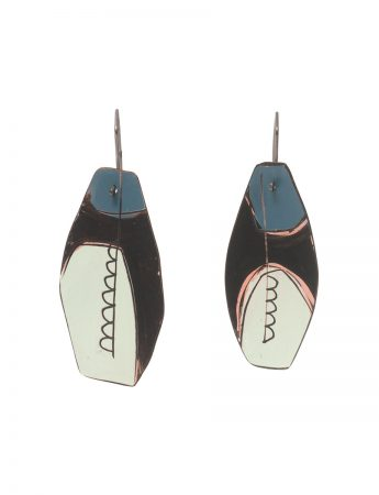 Reversible Apron Earrings - Blue, Grey & White