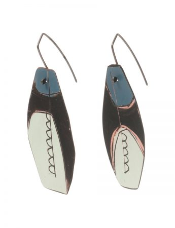 Reversible Apron Earrings – Blue, Grey & White