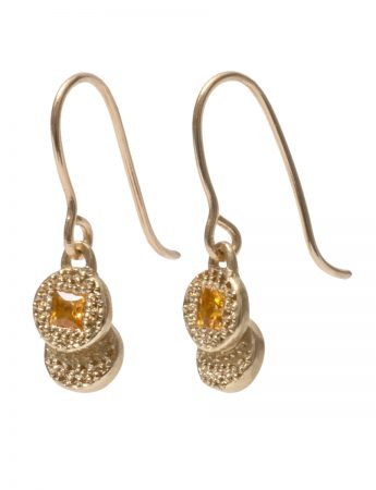 Beloved Assemblage Stacked Disc Hook Earrings - Yellow Sapphire