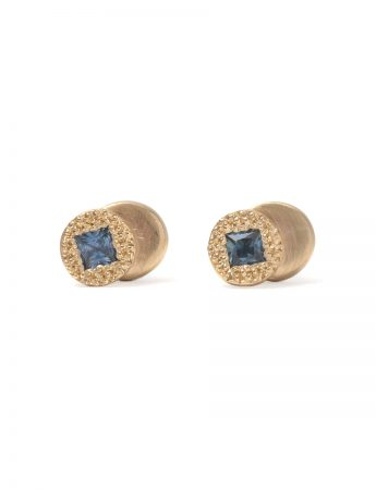 Beloved Assemblage Two Stack Stud Earrings - Blue Sapphires