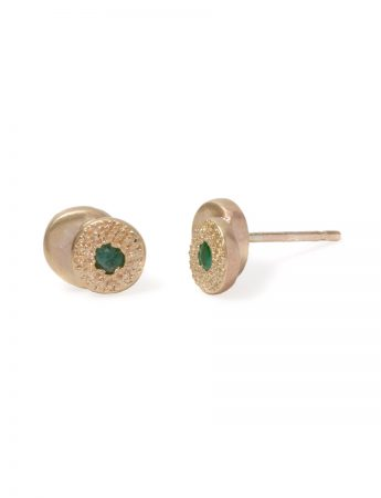 Beloved Assemblage Two Stack Stud Earrings - Emeralds