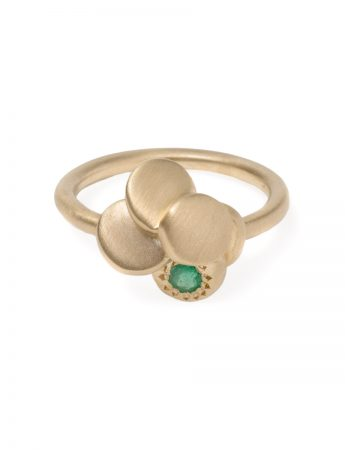 Beloved Assemblage Five Stack Flower Ring - Emeralds