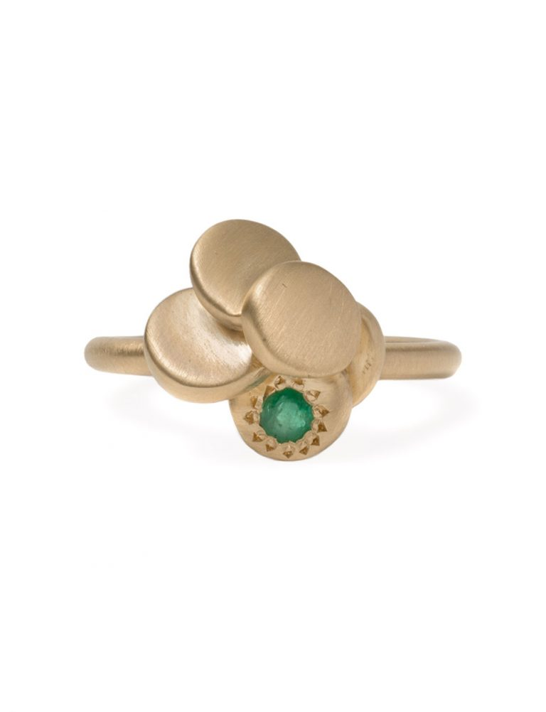 Beloved Assemblage Five Stack Flower Ring – Emeralds