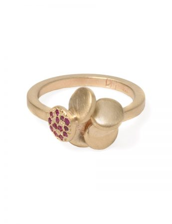 Beloved Assemblage Five Stack Flower Ring - Rubies