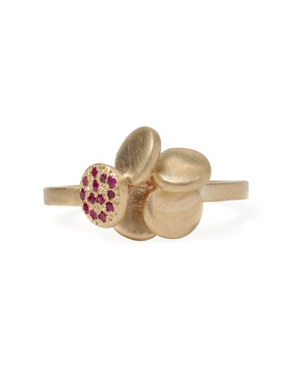 Beloved Assemblage Five Stack Flower Ring – Rubies