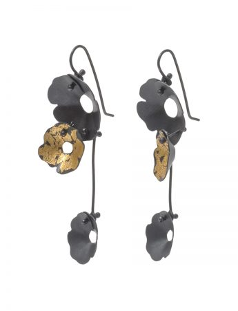 Anemone Three Flower Earrings - Black and Gold