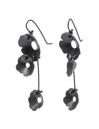Anemone Three Flower Earrings - Black