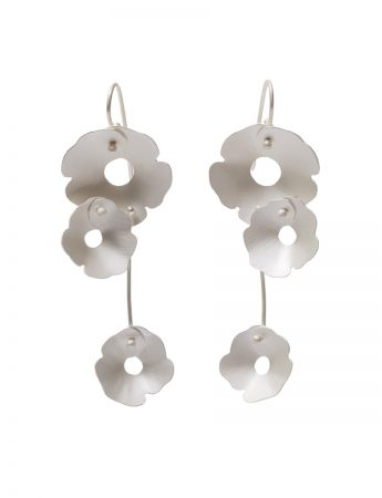 Anemone Three Flower Earrings - Silver
