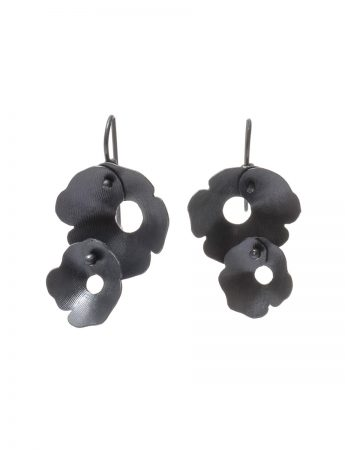 Anemone Two Flower Earrings - Black