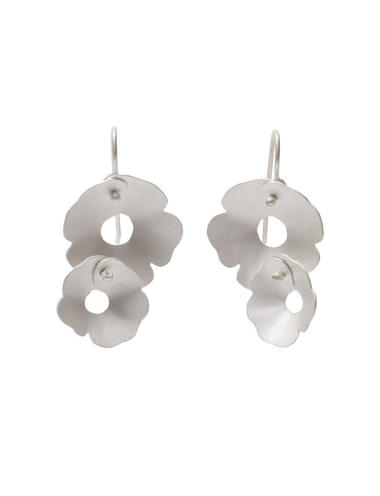 Anemone Two Flower Earrings – Silver