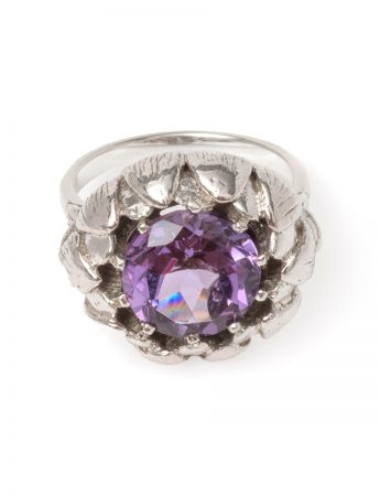 Artichoke Ring - Silver and Amethyst