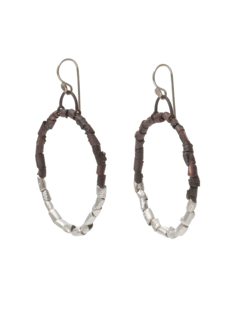 Beaded Open Hoop Earrings