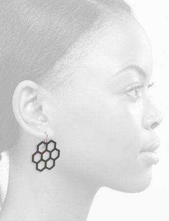 Big Seven Hexagon Earrings – Black