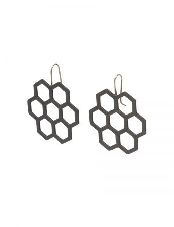 Big Seven Hexagon Earrings - Black