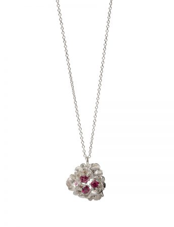 Blossom Pendant Necklace - Silver with Garnets
