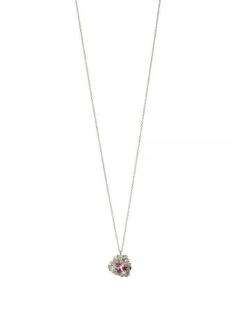 Blossom Pendant Necklace – Silver with Garnets