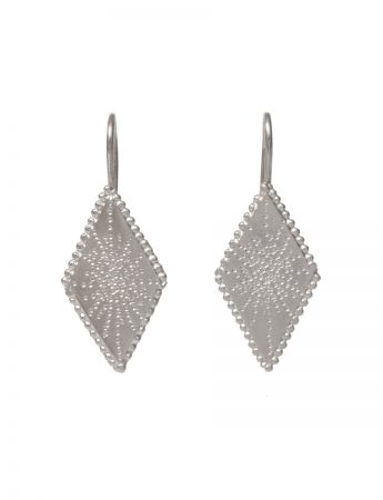 Diamond Shaped Star Earrings - Silver