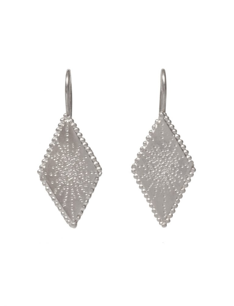 Diamond Shaped Star Earrings – Silver