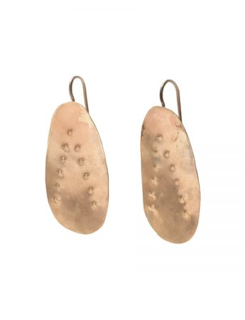 Embossed Large Drop Hook Earrings - Gold