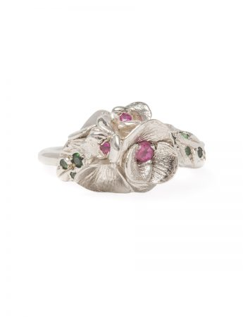 Silver Floral Blooms Ring - Sapphire